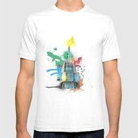 Swan Bell Tower Abstract Mens Fitted Tee White SMALL