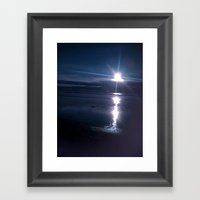 Beach Sunset In The Dark Framed Art Print