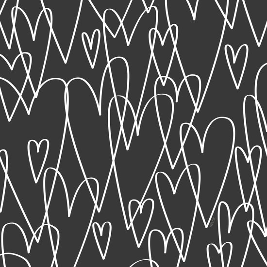 Doodle Hearts in Black by Friztin Art Print