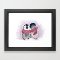 Penguin Cuddle Framed Art Print