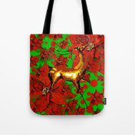 Reindeer And Poinsettia Tote Bag