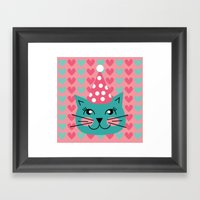 Cat Party Hat Framed Art Print