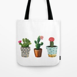 Tote Bag - Three Cacti With Flowers On White Background - LaVieClaire