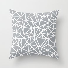 Abstract Outline Thick White on Grey Throw Pillow
