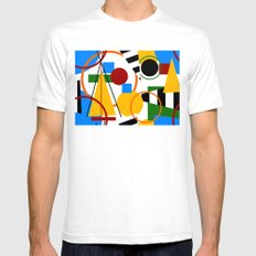 Abstract Art Deco Bermuda SMALL White Mens Fitted Tee