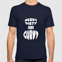 Nerdy, Dirty, and Curvy Mens Fitted Tee Navy SMALL