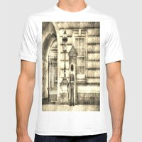 Buckingham Palace Queens Guard Vintage Mens Fitted Tee White SMALL