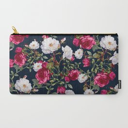 Carry-All Pouch - Vintage Roses on Darkblue - VS Fashion Studio