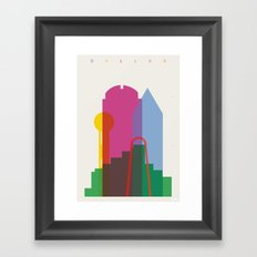 Shapes of Dallas. Accurate to scale. Framed Art Print