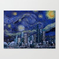 Seattle Starry Night Canvas Print