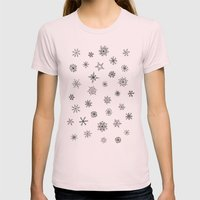 Snowflakes Womens Fitted Tee Light Pink SMALL