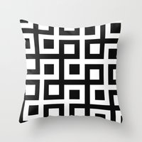 B/W Square loop pattern Throw Pillow