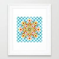 Blue Gingham Pastel Mandala Framed Art Print