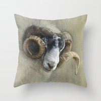 Dougal - A black faced Welsh ram Throw Pillow
