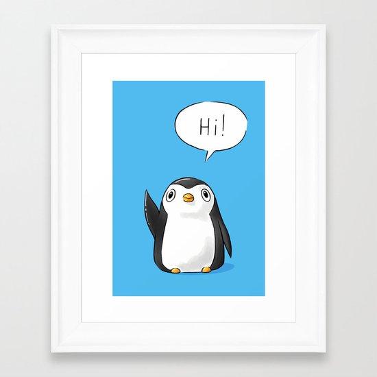 Hi Penguin Framed Art Print