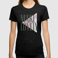 Make Lovely // Stone Womens Fitted Tee Tri-Black SMALL