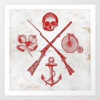 Skull Flower Rifle Bicyc… Art Print