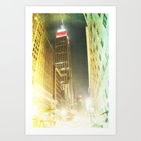 Empire at night _ empire state building New York City Art Print