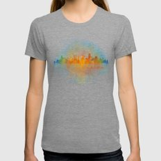 Austin Texas, City Skyline, watercolor  Cityscape Hq v4 Dark Womens Fitted Tee Tri-Grey SMALL