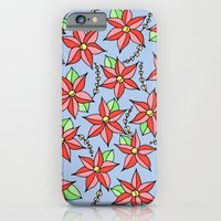 iPhone & iPod Case featuring Red flowers on light blue by ArtByBeata