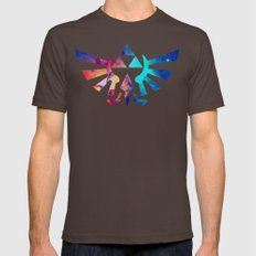 The Legend of Zelda Triforce Multicolored Stars Mens Fitted Tee Brown SMALL