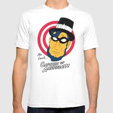 Abe, Captain of America SMALL White Mens Fitted Tee