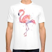 Flamingo Watercolor  Mens Fitted Tee White SMALL