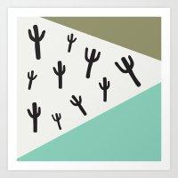 Cactus – Mint, Black A… Art Print