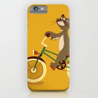 iPhone & iPod Case featuring Raccoon on a bicycle by Tatiana Obukhovich