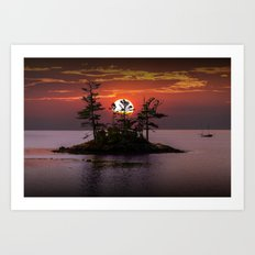 Small Island at Sunset in Acadia National Park in Maine Art Print