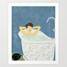 Bathtub Scene Art Print