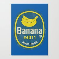 Banana Sticker On Blue Canvas Print