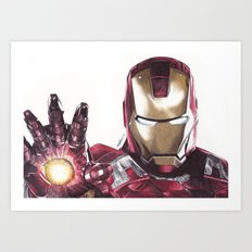 Iron Man Pen Drawing Art Print