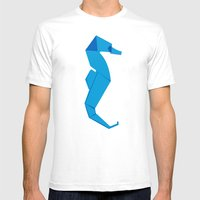 Origami Seahorse Mens Fitted Tee White SMALL