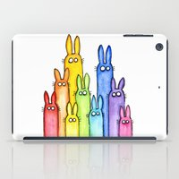 Rainbow of Bunny Rabbits Watercolor  iPad Case