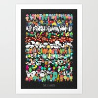 Illustrated Aliens Print One Art Print