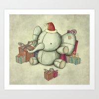Happy Cute Elephant Art Print