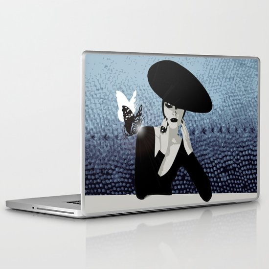 butterfly and woman Laptop & iPad Skin