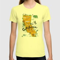 Postcard From California Womens Fitted Tee Lemon SMALL
