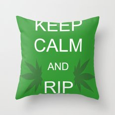 Keep Calm and Rip a Bong Throw Pillow