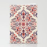 Modern Folk In Coral Red… Stationery Cards