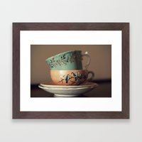 Golden Leaves Teacup Framed Art Print