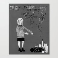 Every Little Thing She Does in black & white Canvas Print