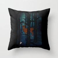 Winter Woods at Night Throw Pillow
