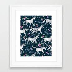 Unicorns and Stars on Dark Teal Framed Art Print