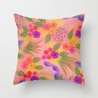 WILDFLOWER FANCY 2 - Cheerful Pink Lovely Floral Garden Pattern Girly Feminine Trendy Flowers Throw Pillow