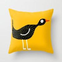 bird - yellow Throw Pillow