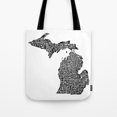 Typographic Michigan Tote Bag