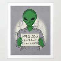 Jobless On Earth Art Print