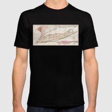 Long Island, New York  1842 Mather Map SMALL Mens Fitted Tee Black